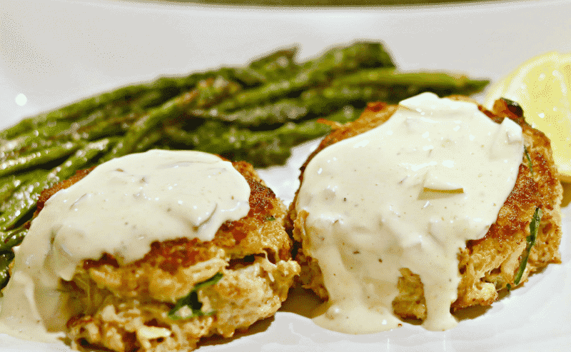 Two Paleo & Keto Crab Cakes on a plate