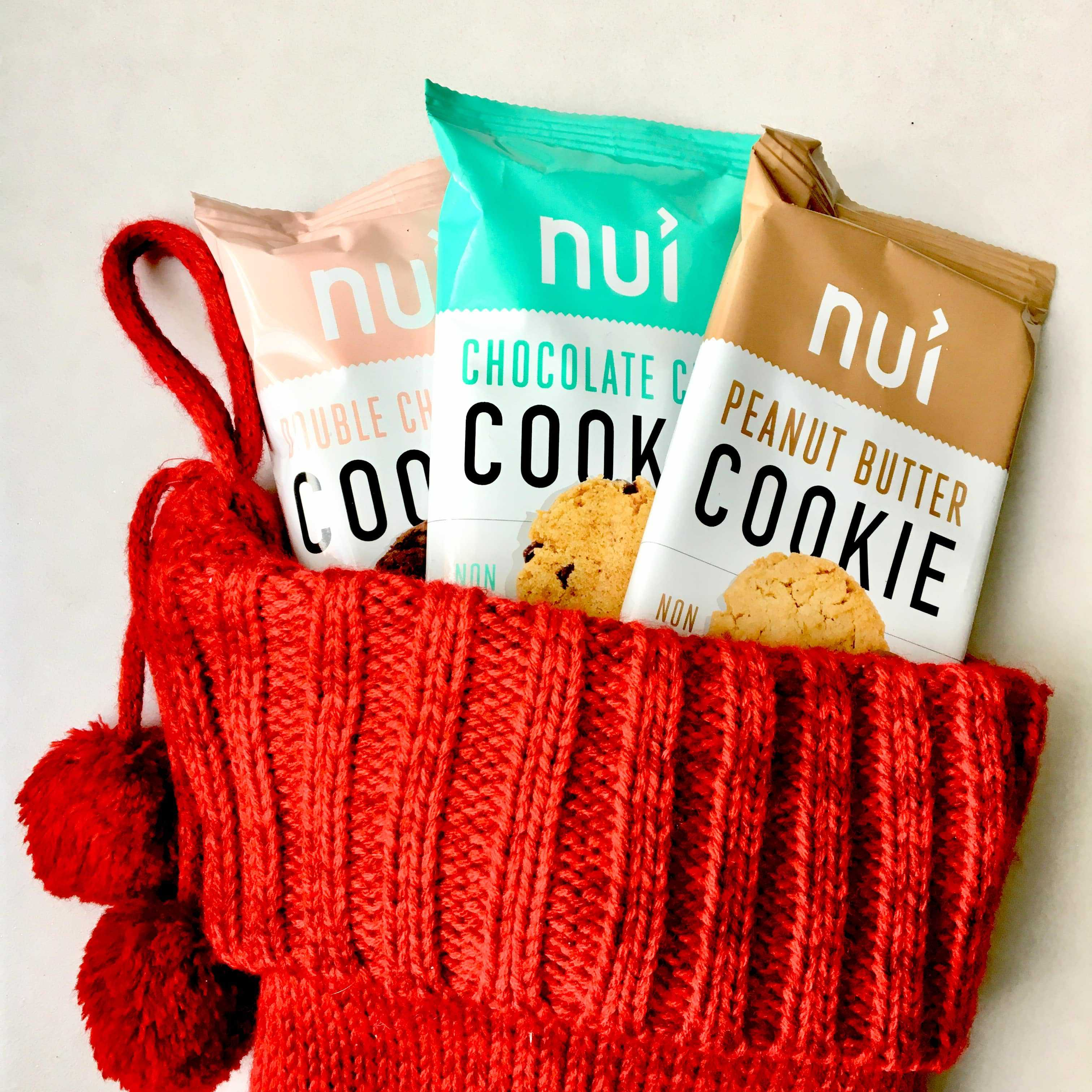 Nui Cookies in a holiday stocking