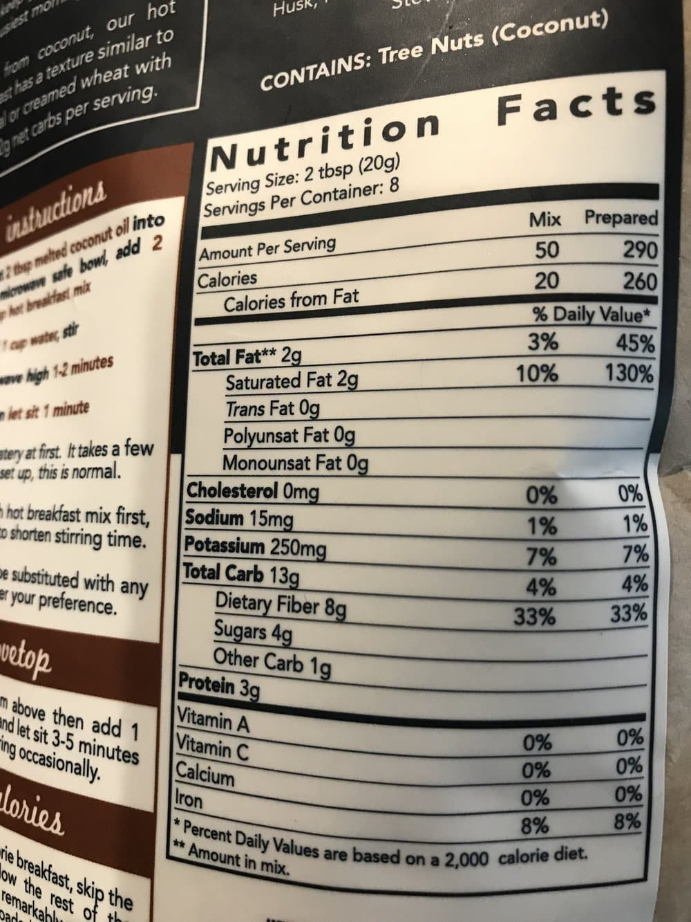 A close up of the nutritional facts for a pouch of Keto and Company Hot Breakfast