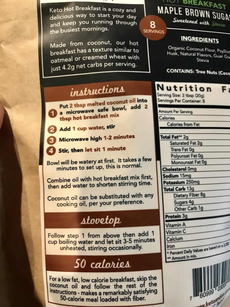 A close up of the instructions for a pouch of Keto and Company Hot Breakfast