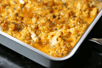 Keto Mac and Cheese in a pan