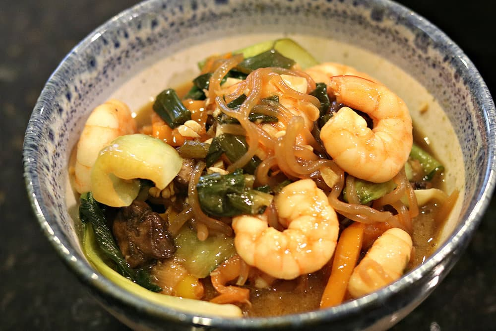 A bowl of Shrimp Lo Mein with Miracle Noodles