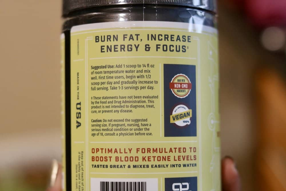A close-up photo of suggested use for Strawberry Lemonade Key Keto by Key Nutrients