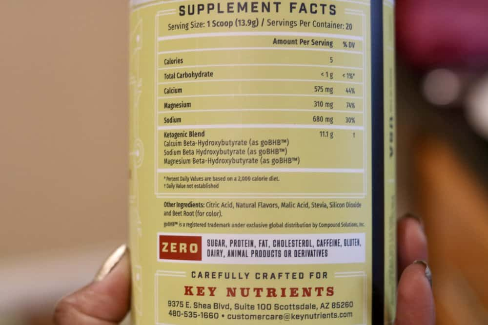 A close-up photo of nutritional facts for Strawberry Lemonade Key Keto by Key Nutrients