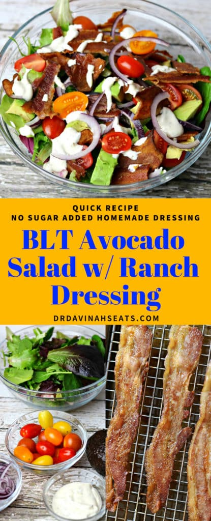 A Pinterest image for BLT Avocado salad