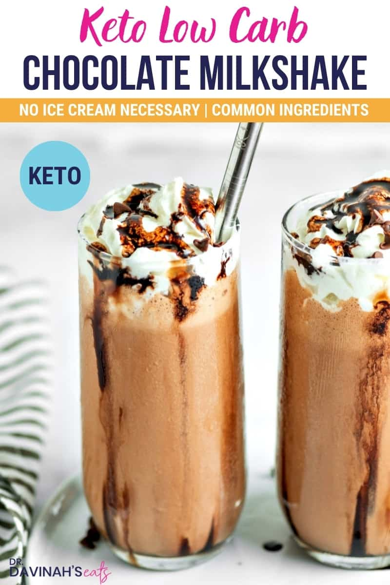 pinterest image for keto chocolate peanut butter milkshake