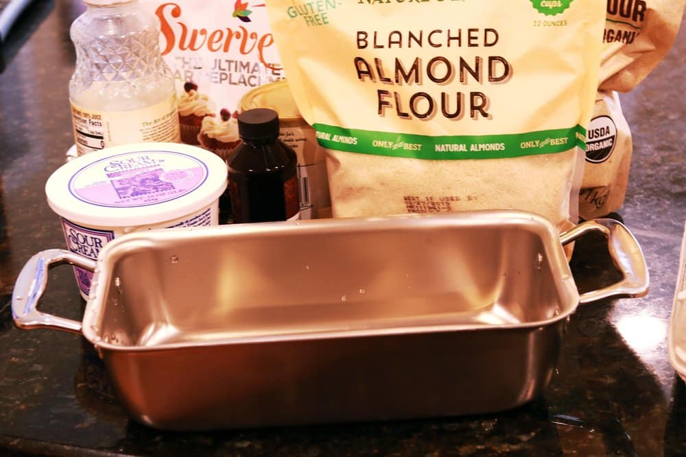 Loaf pan, almond flour, and other ingredients for Low-Carb Strawberry Shortcake