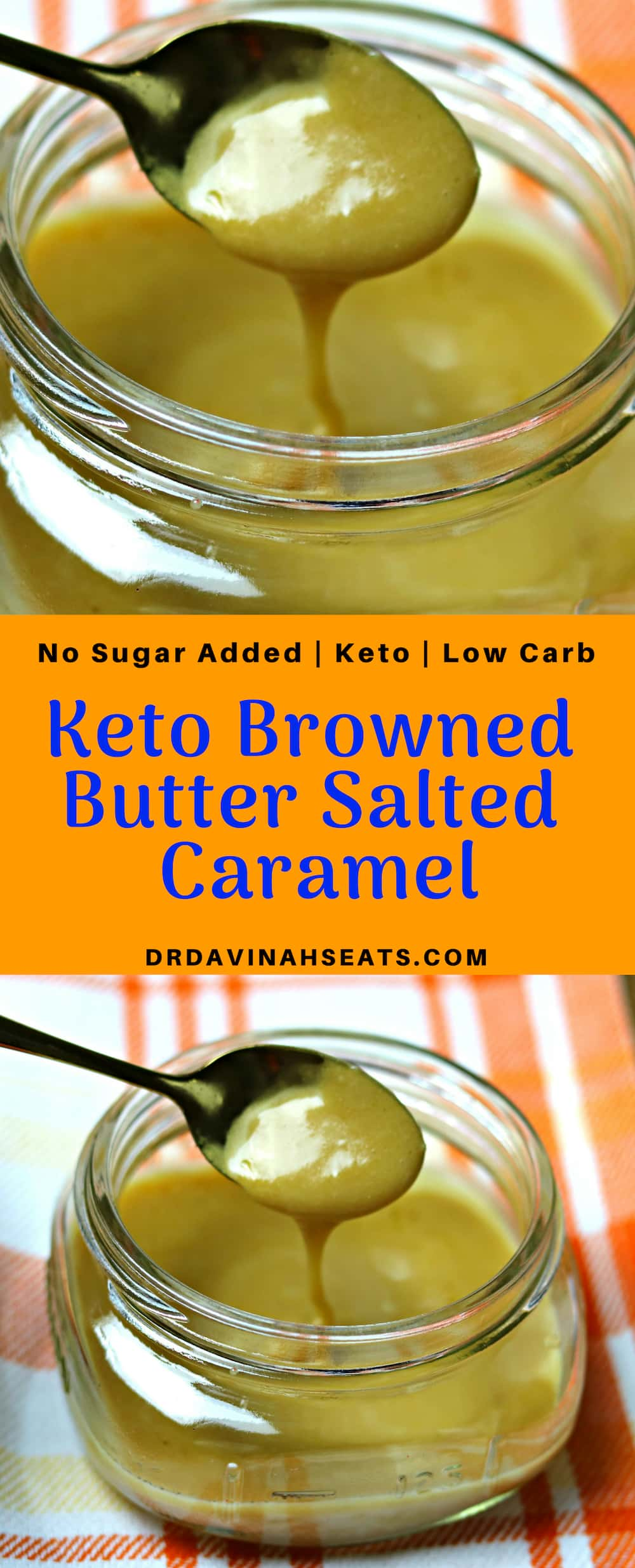 A Pinterest image for Keto Browned Butter Salted Caramel