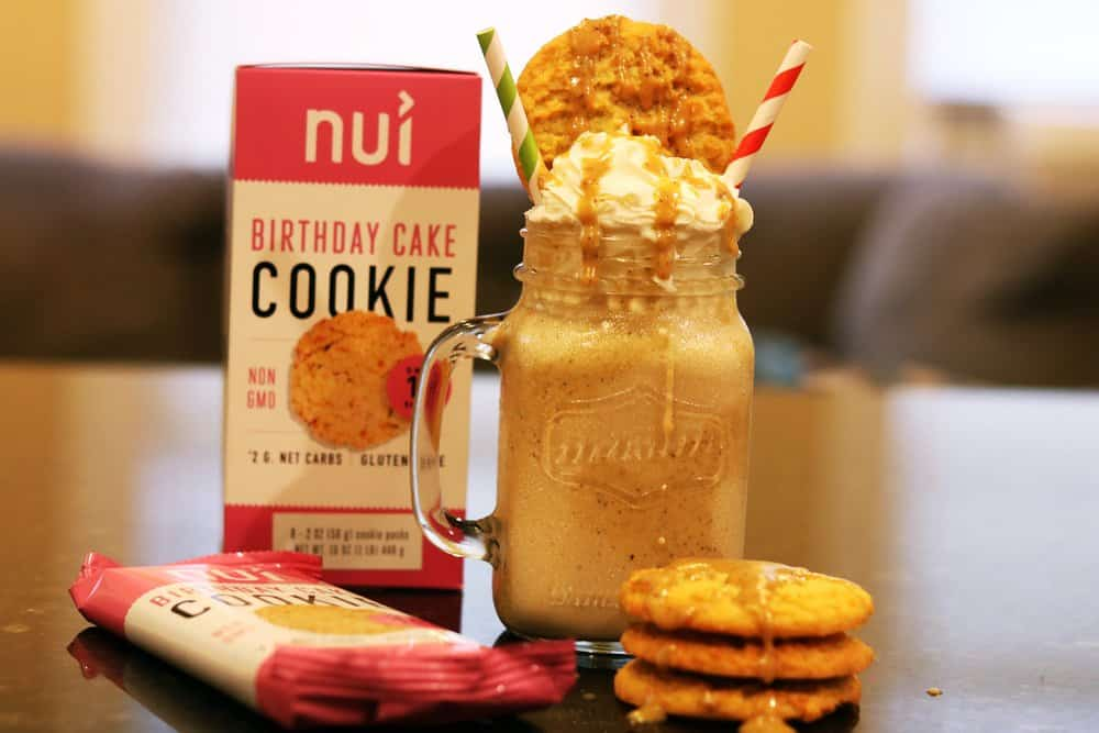 Cookies n' salted caramel keto frappuccino (blended coffee) with birthday cake cookies