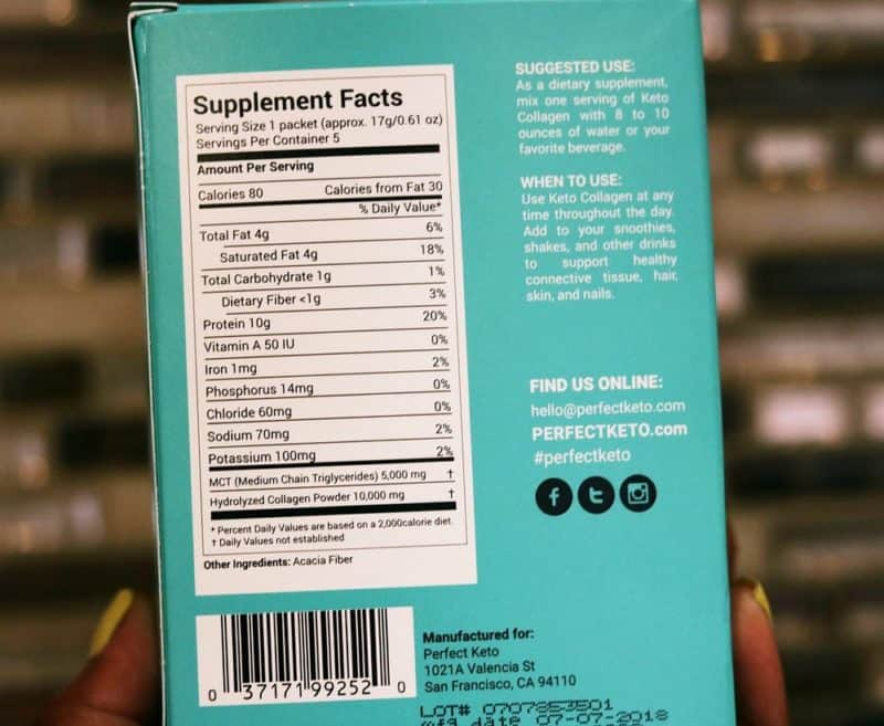 The nutrition label for Perfect Keto collagen