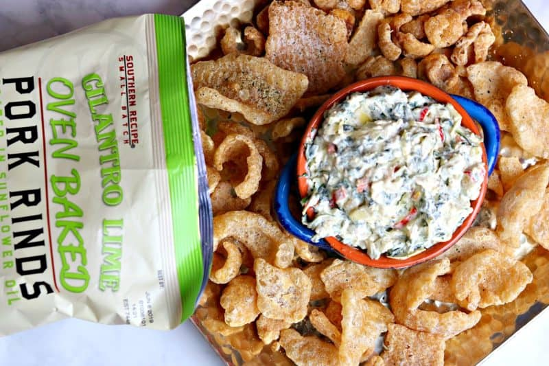An easy, keto kale recipe for Creamy Kale Artichoke Dip