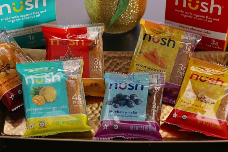 An assortment of Nush Cakes on a golden serving dish