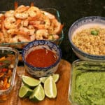 An assortment of prepared ingredients for Keto Margarita-Lime Shrimp Bowl