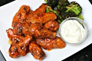 Buffalo Wings on a plate with blue cheese