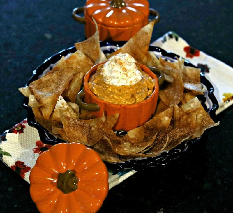Pumpkin Cheesecake dip on a plate with low-carb cinnamon tortillas