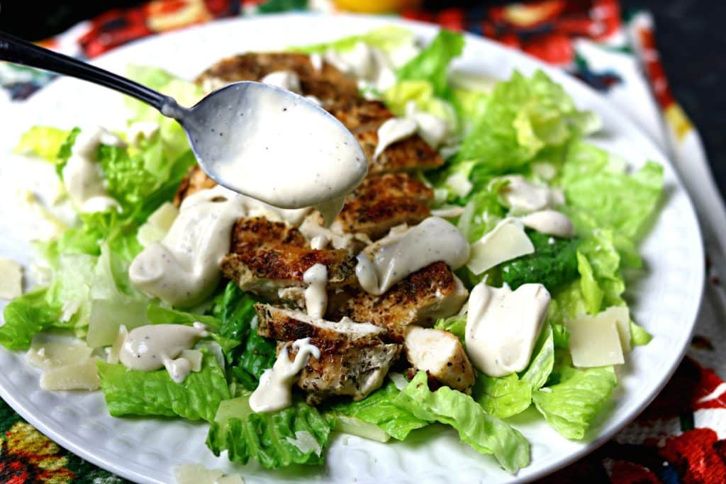 Caesar Dressing on a salad