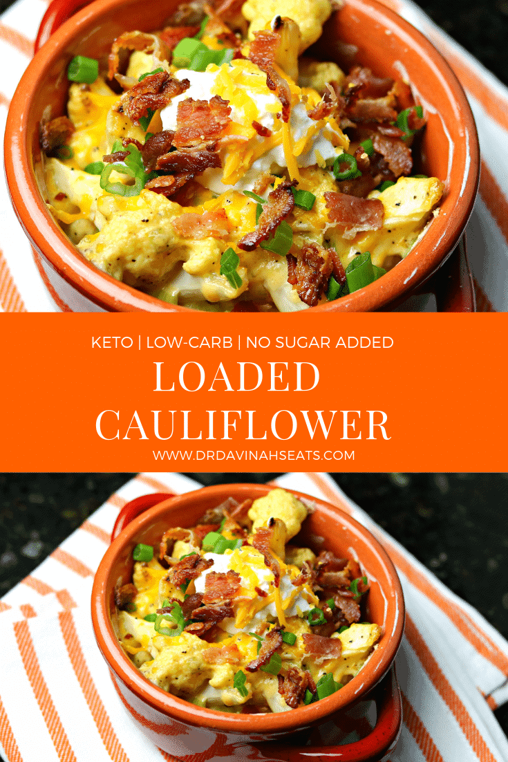 A Pinterest image for Keto Loaded Cauliflower