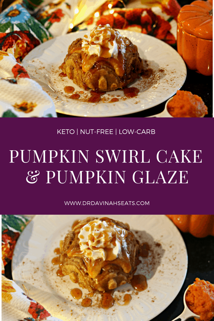 A Pinterest image for Pumpkin Swirl Cake with Pumpkin Glaze
