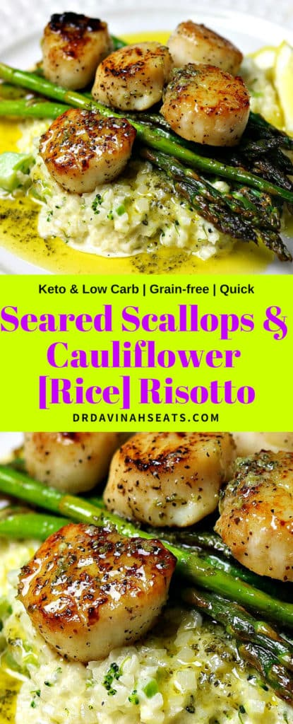 Pinterest image for Seared Scallops & Cauliflower Rice Risotto