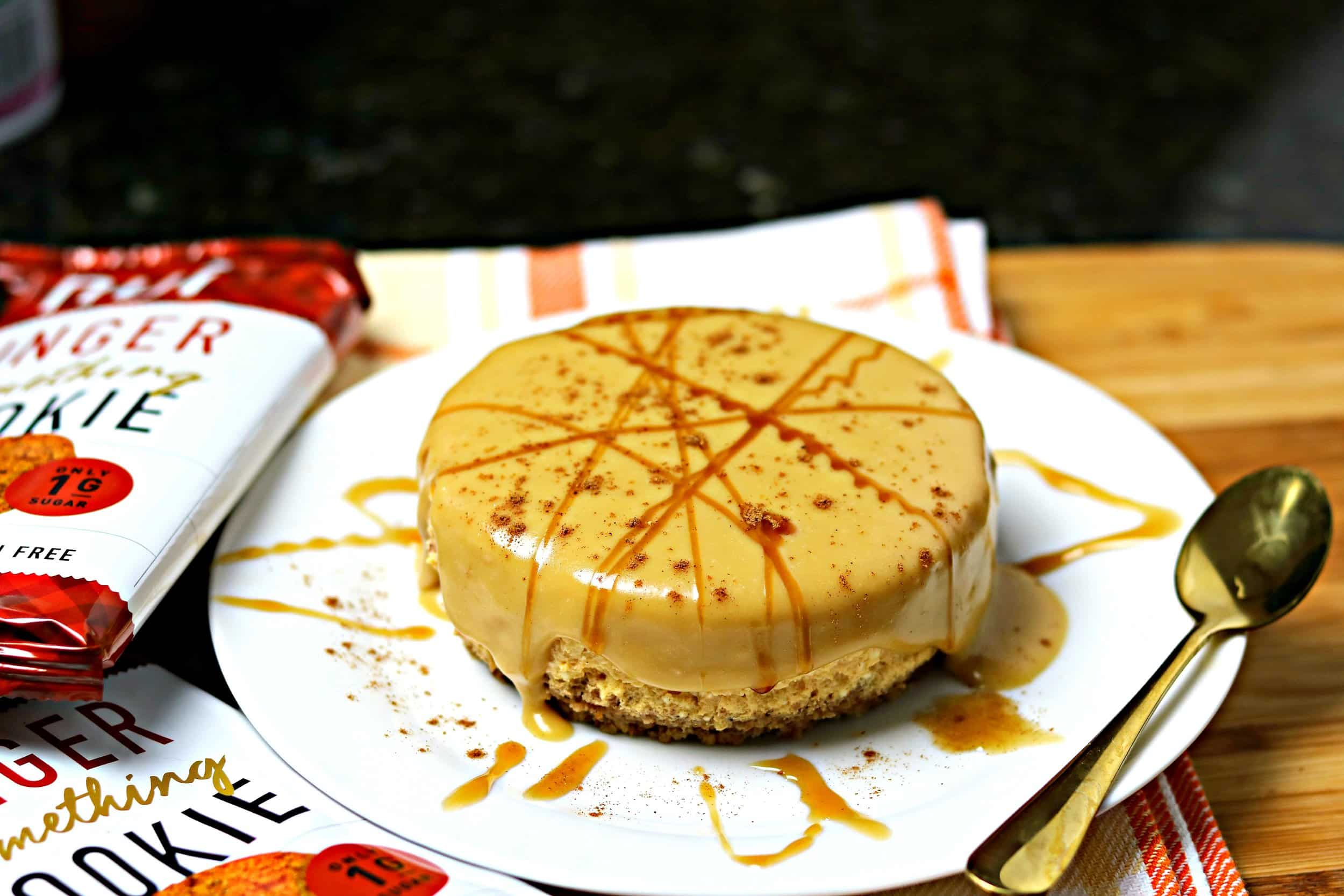 Low-Carb Pumpkin Brandy Cheesecake on a white plate