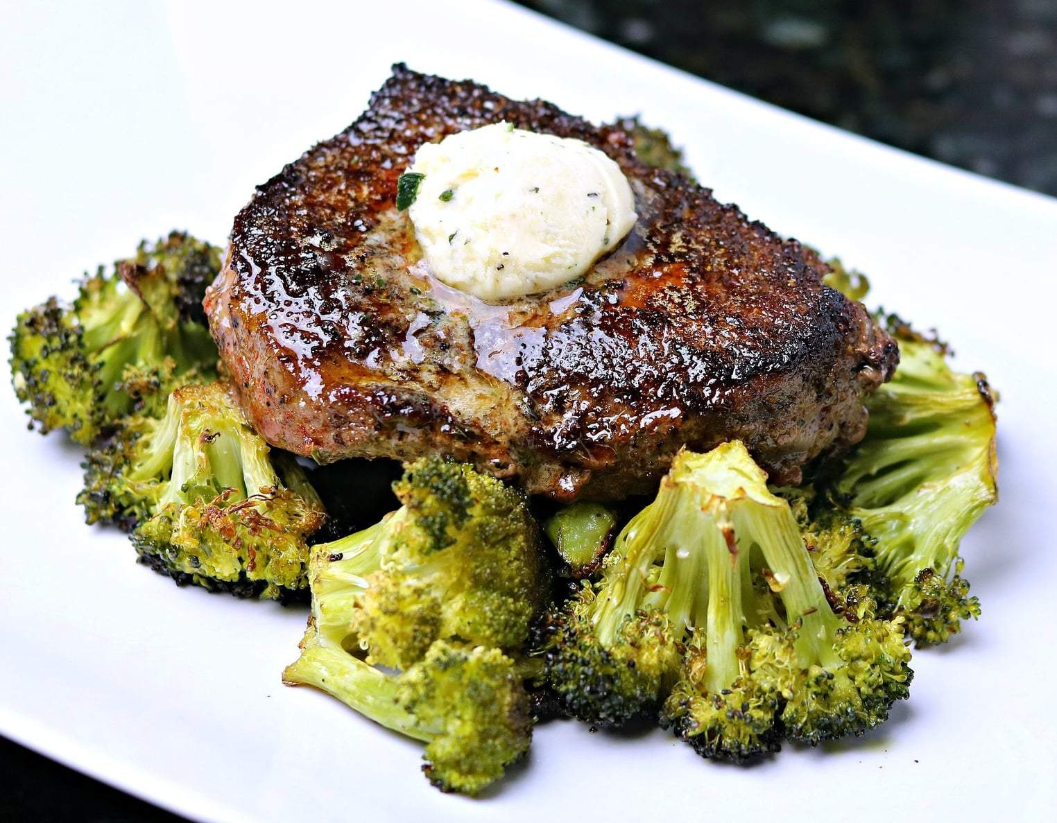Easy Beef Top Sirloin steak on a plate with roast broccoli
