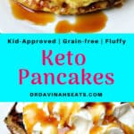 A Pinterest friendly image for Keto Pancakes