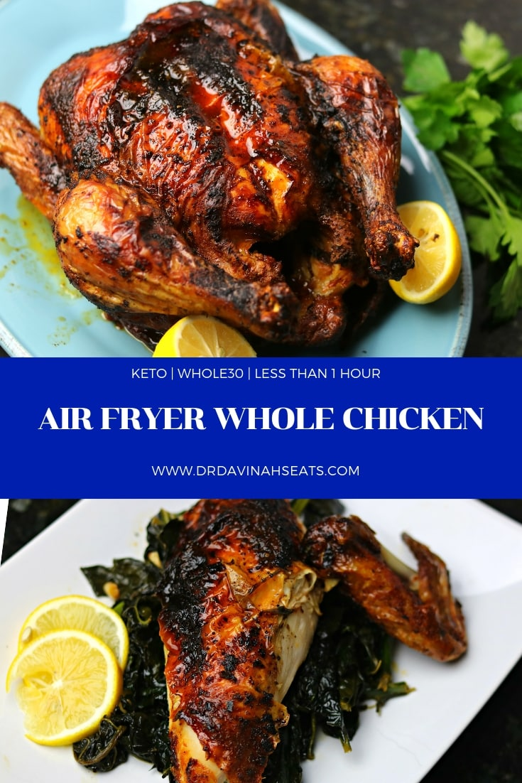 A Pinterest image for Air Fryer Whole Chicken