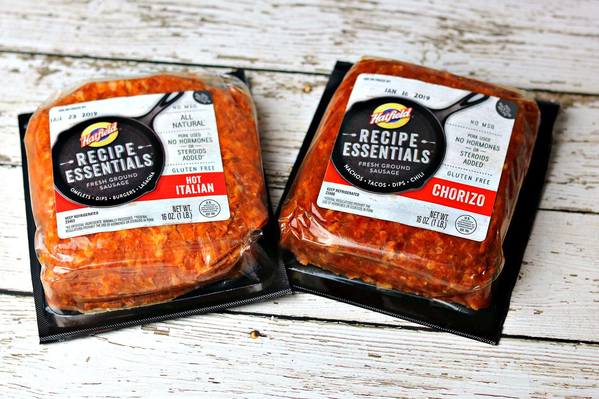 two packages of Hatfield recipe essentials chorizo