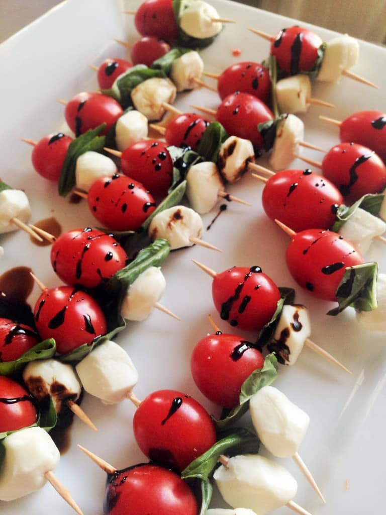 Keto Caprese Appetizers on a white serving dish