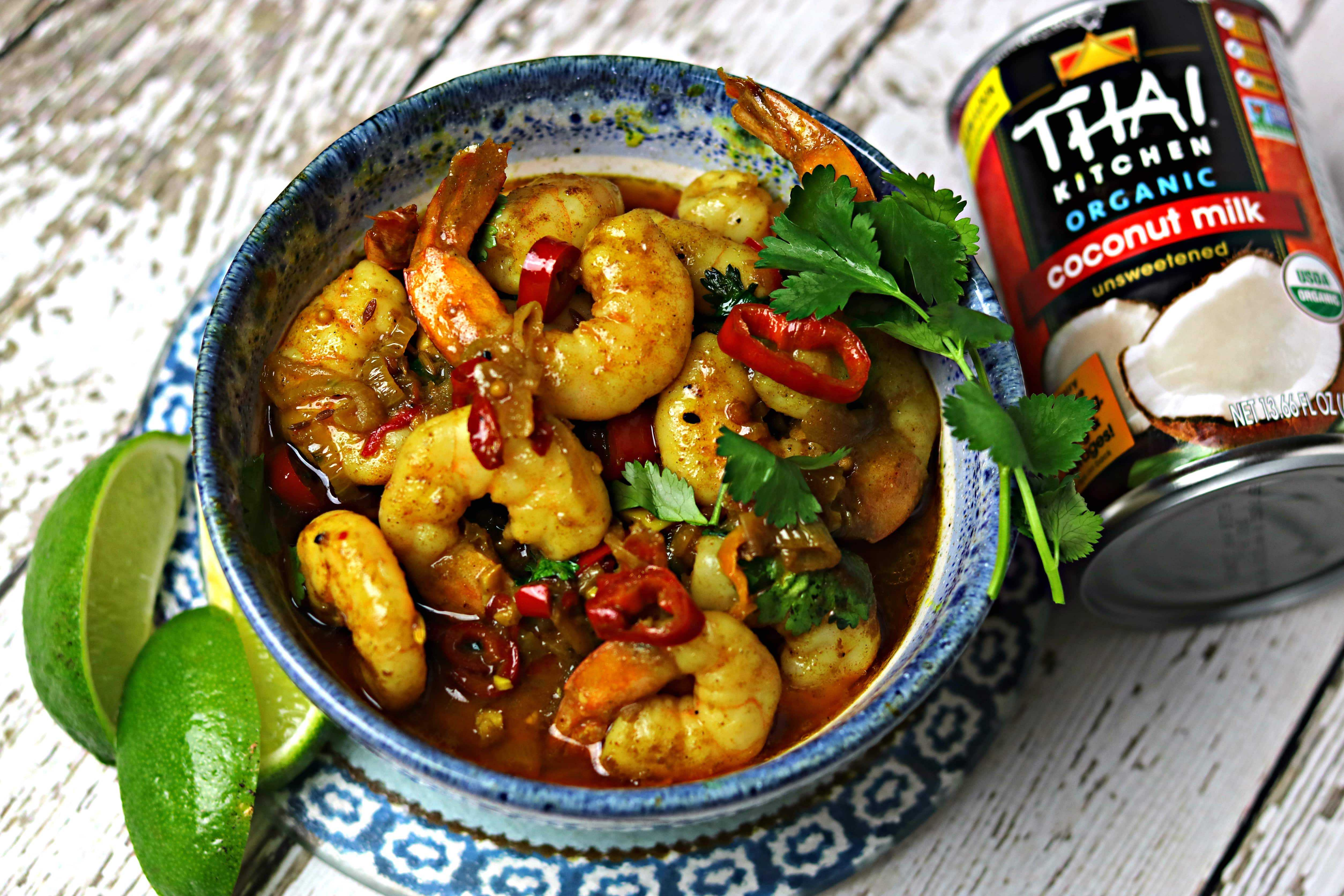 A bowl of Indian Shrimp Curry