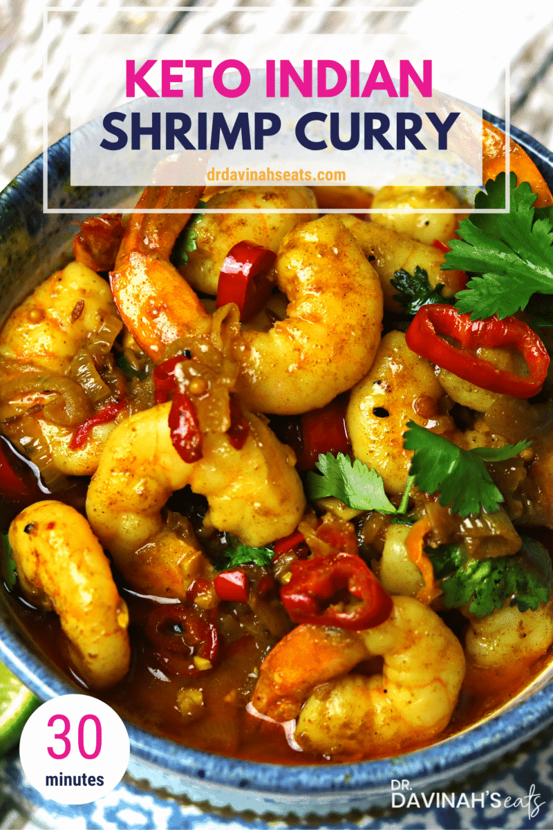 Pinterest image for Keto Shrimp Curry