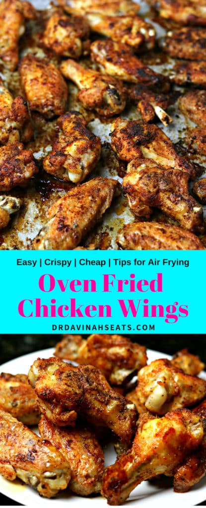 Pinterest Image for oven fried chicken wings