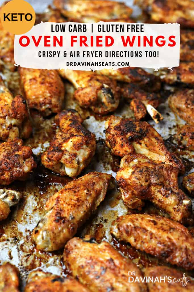 a Pinterest image for Oven Fried Chicken wings showing the final dish on a sheet pan