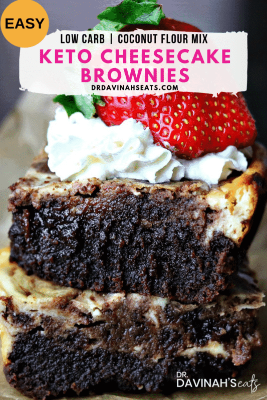 Pinterest Image for Easy Low Carb Cheesecake Brownies