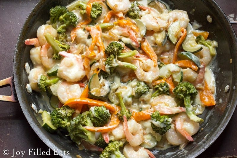 Low Carb Shrimp Primavera recipe in a pan