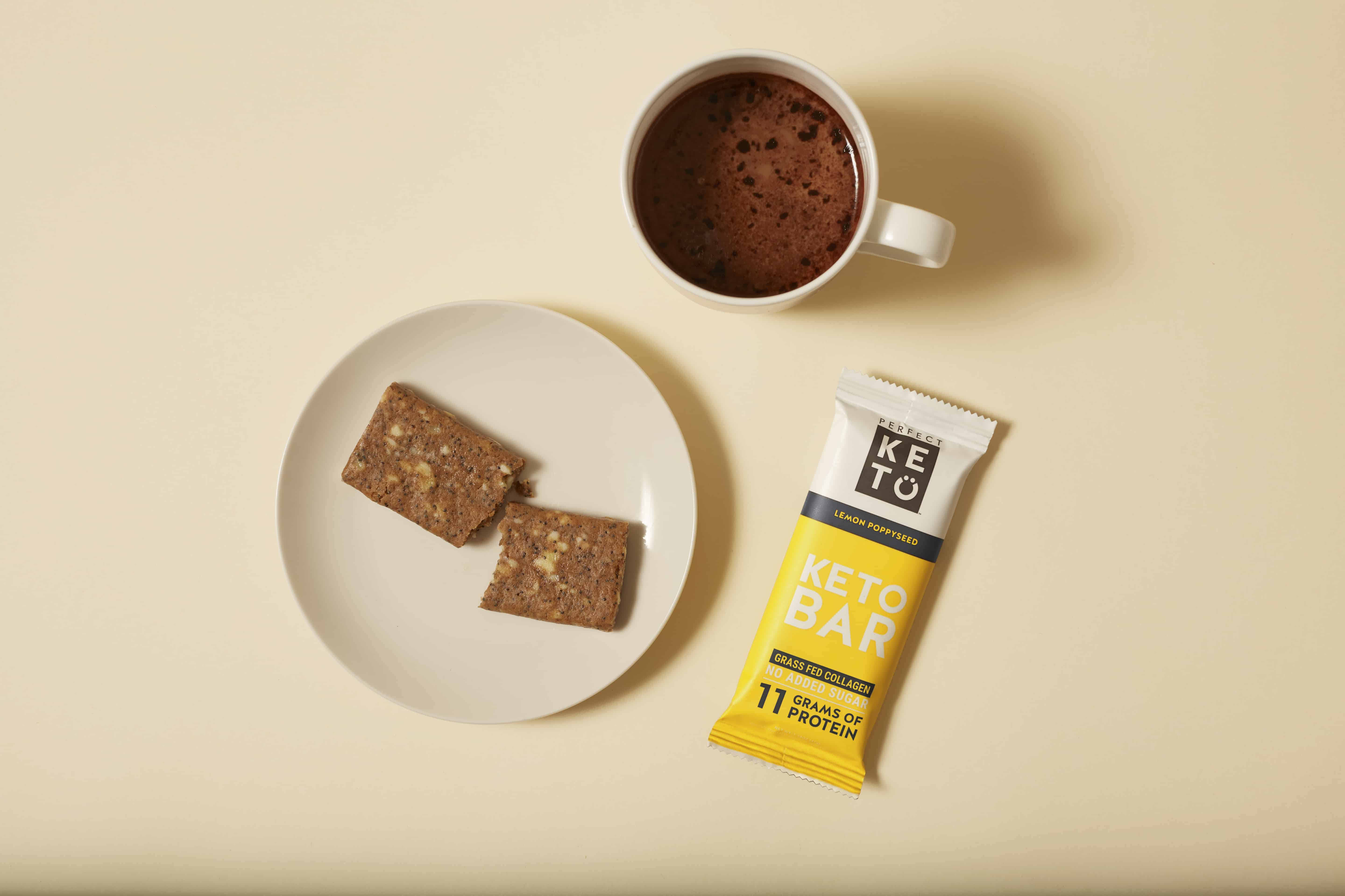 Perfect Keto Keto Bars with a cup of coffee