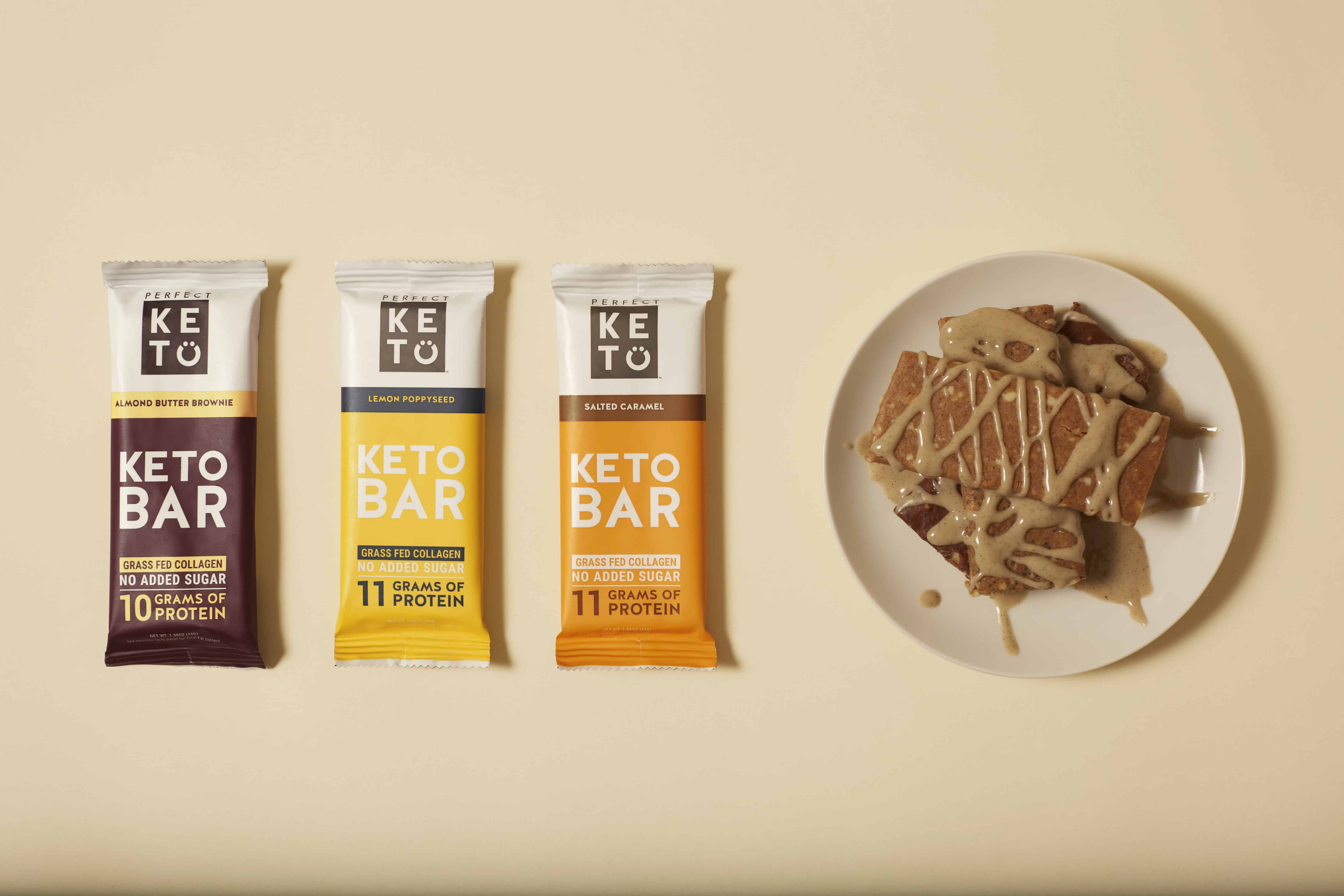 A collection of Perfect Keto NEW Keto Bars in Lemon Poppyseed & Salted Caramel, with Discount Code