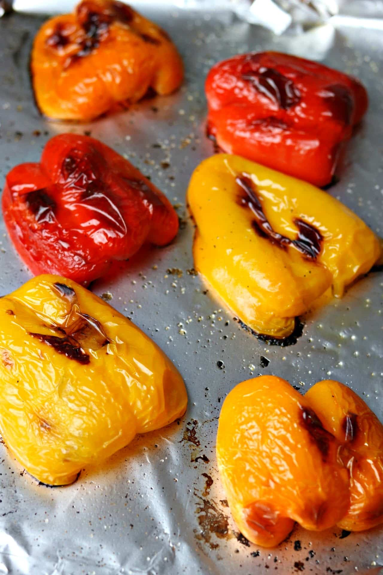 Roasted Bell Peppers on a sheet pan
