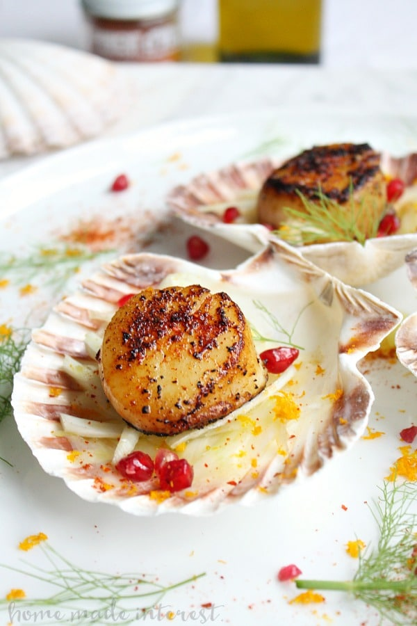 Red Chili Seared Scallops and Citrus Fennel Salad