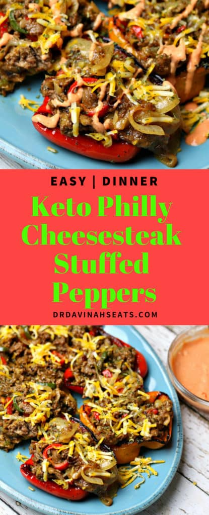Pinterest image for Keto Philly cheesesteak Stuffed Peppers