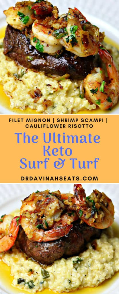 Pinterest image for The Ultimate Keto Surf & Turf recipe