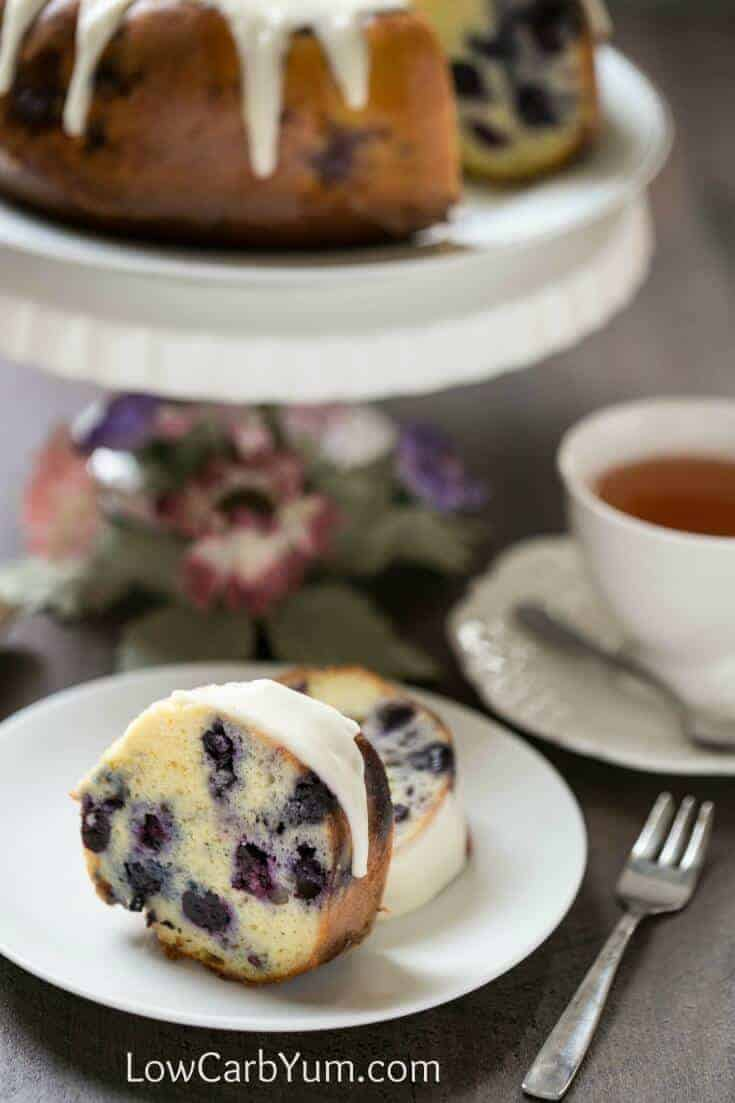 Lemon Blueberry Pound Cake on a white plate
