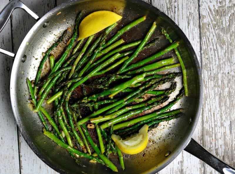 sauteed asparagus in a pan
