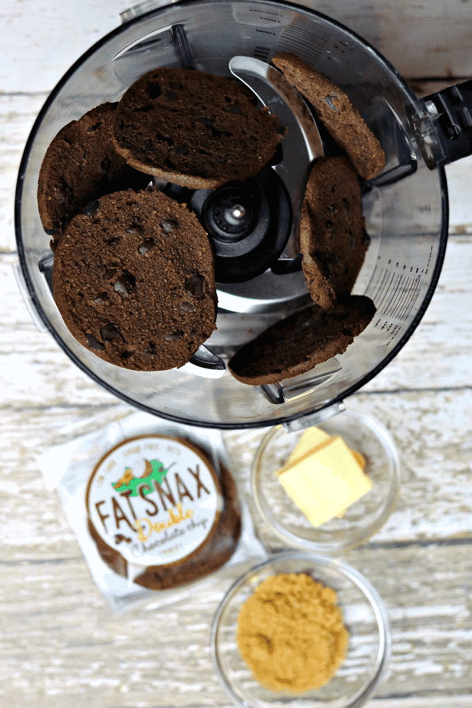 Chocolate Crust ingredients in a food processor