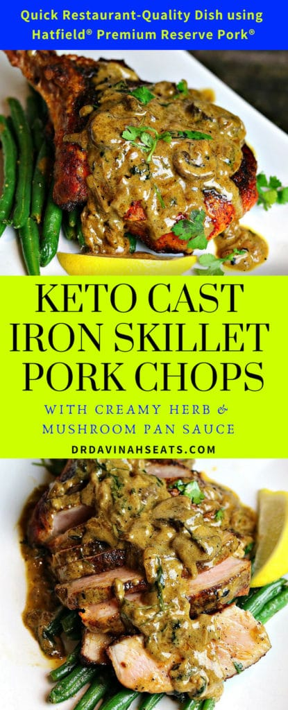 A Pinterest image for Cast Iron Skillet Pork Chops