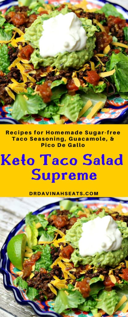 Pinterest image for keto taco salad