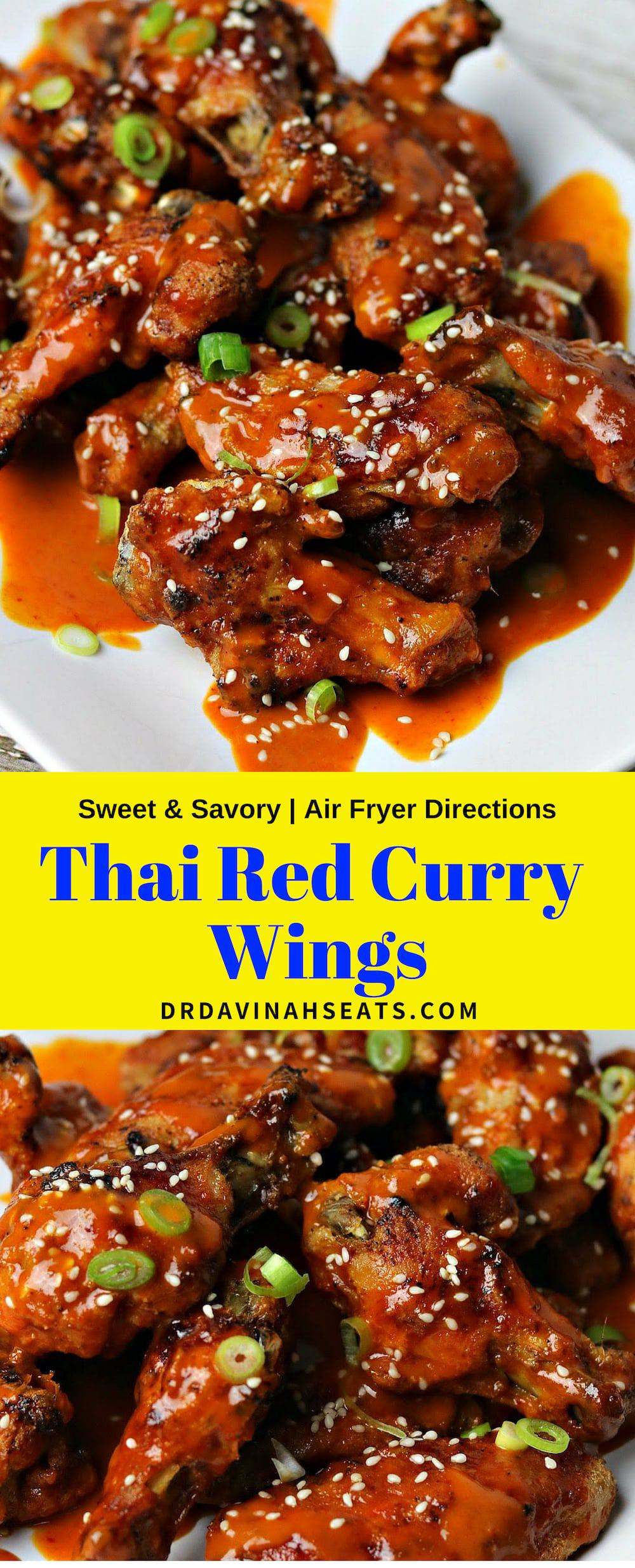 A Pinterest image for Thai Red Curry Chicken Wings