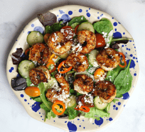 Keto Mexican Shrimp Salad with seared shrimp on top