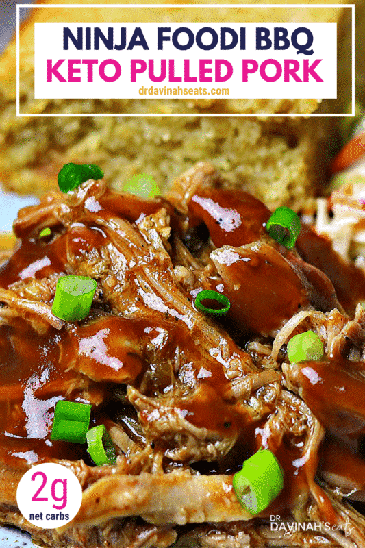Pinterest image for keto BBQ pulled pork recipe