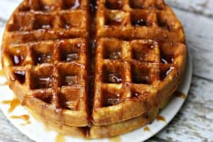 Keto Waffles stacked on a plate